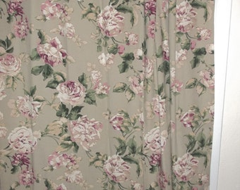 Vintage Home Decorator Fabric Floral Curtain Panel Sage Floral JUST REDUCED