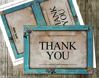 Turquoise Frame Thank You card, Rustic Thank You with star embellishments, Country Rustic Printable Thank You card, Wedding Thank You, DIY