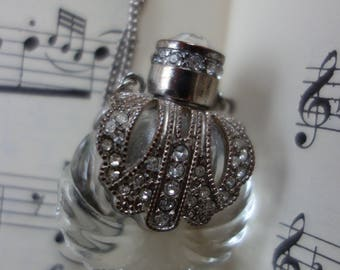 Filigree Necklace-Baroque-rococo-style-necklace-glass vial with metal and rhinestone-long necklace by grandma