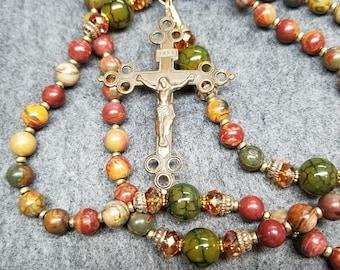 SALE Painted Jasper Bronze Rosary Catholic Gift Handmade HeartFelt Rosaries
