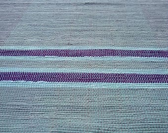 Gray Rag Rug with Purple and Light Blue Stripes