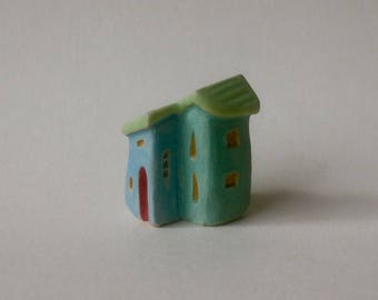 tiny duplex with red doors, OOAK carved miniature stoneware clay house