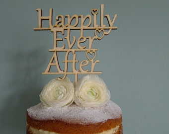 Happily Ever After Wooden Wedding Cake Topper, Wedding cake topper, wooden cake topper