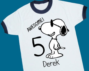 Joe Cool Snoopy Birthday Ringer Tee. Personalized Birthday Shirt with Name and Age. 1st 2nd 3rd 4th 5th 6th 7th 8th Birthday T Shirt (25069)