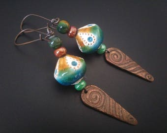 Indian earrings - ceramic and copper engraved
