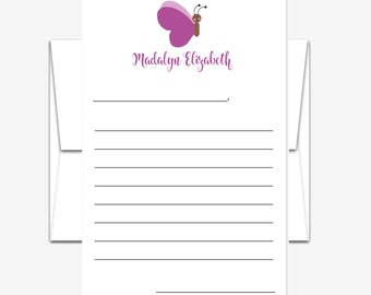 Personalized Stationery - Lined Stationery for Kids - Butterfly