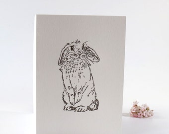 Easter Bunny, lop eared rabbit, letterpress greetings card, lop ear bunny, rabbit Easter card, easter, holiday card