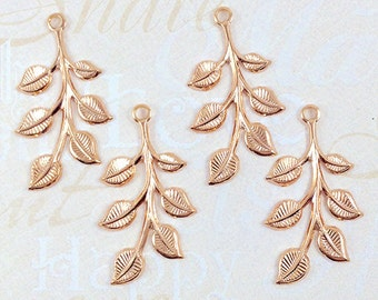 Rose Gold Leaves, Brass Leaf, Leaf Stamping, Brass Finding, Left Facing 20mm x 37mm - 4 pcs. (rg187)