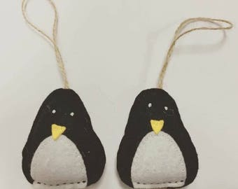 Handmade penguin felt Christmas Tree decoration vintage scandi style