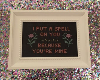 Framed Spell On You Cross Stitch