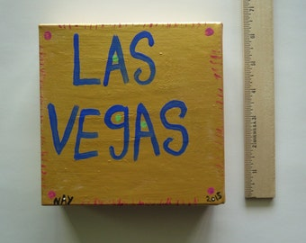Las Vegas Word Art Folk Painting Canvas Original By NayArts