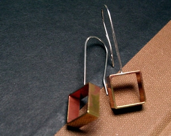 Hammered Brass & Sterling Square Hoop Earrings -Oxidized