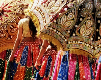 Festival Photography - Indian Dancers Fine Art Photograph - Festive Umbrella Print - Dance Art