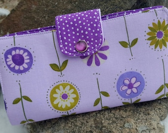 Purple Floral Checkbook Cover, Purple Coupon Wallet, Purple Checkbook Case, Fabric Checkbook, Checkbook with snap