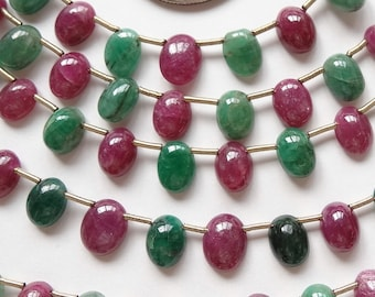 REDUCED 50% Genuine Emerald and Ruby Oval Cabochon Drops 21 Pieces G1342