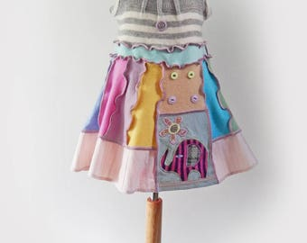Pastel Dress, Toddler Sundress, Pinafore Dress, Elephant Dress, Upcycled Dress, Cashmere Dress, Unique Clothing, Applique Dress, Age 3 - 5