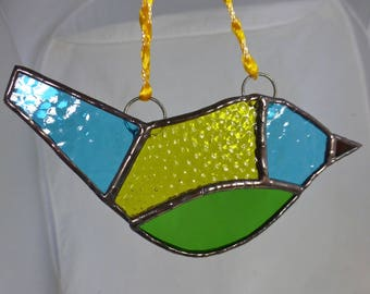 Stained Glass Turquoise Blue and Yellow Bird Art Glass Light Catcher / Sun Catcher