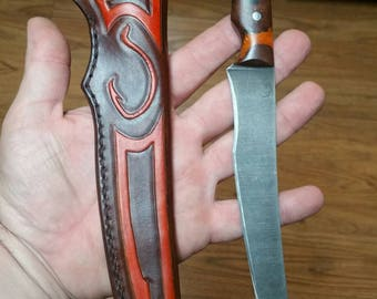 BFB Thrash-XL, Fishing, Custom, Handmade, Fillet Knife, with Custom Leather Sheath