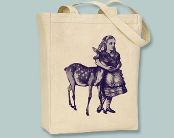 Alice In Wonderland Original Illustration Alice with Fawn on Canvas Tote - Selections of sizes, ANY PRINT COLOR