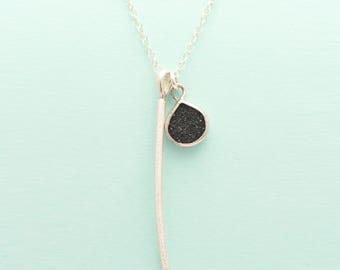Orbit pendant sterling silver necklace with black druzy quartz teardrop charm, pendant, layering, necklace, dainty, versatile