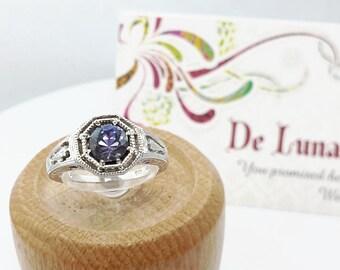 1 ct Tanzanite Ring in Sterling Silver / Natural Blue Gemstone Engagement December Birthstone Filigree Ring / De Luna Gems / Free Shipping!