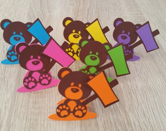 Set of 6 place - cards Teddy bear with his sign to be personalized - purple color