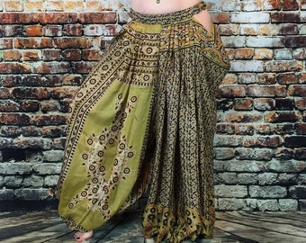 open hip/ open side/drop hip harem pants for tribal and fusion belly dancers/Olive and Black floral
