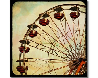 Ferris Wheel Photo, Whimsy Fun Summer Carnival Fair Ride Art, TtL, Through the Viewfinder, Red Brown Black, Childs Room Square Photography