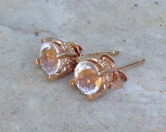 14k Pink Morganite Rose Gold Earring Studs - 5mm Morganite Stud Earrings - Rose Gold Studs