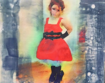 "Children's Room Series ""Dressing Up""- Photo Encaustic Original Painting"