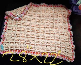 Peach crochet squishy pram blanket