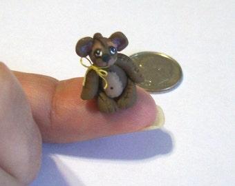 Miniature Teddy Bear Brown Artisan Sculpted 1/12 Scale Toy Tiny Stuffed Bear Dollhouse Nursery Decor