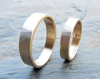 Hammered Gold Wedding Band Set in Recycled 14k Yellow or Rose Gold - Matching Wide, Flat 6mm and 4mm Rings - Choose Polished or Matte Finish