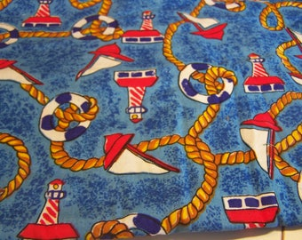 3 Yards Marina Theme Cotton Fabric for Crafts & Quilting Sailboats, Lighthouses