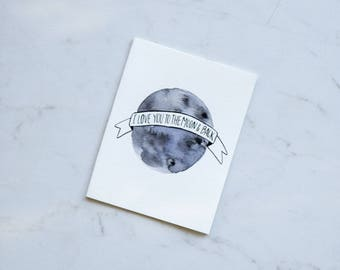 Valentine's Card, Valentines Day, Moon card, I love you card, Watercolor Valentine Card for Him Card for her