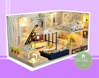 124 scale modern loft apartment diy dollhouse kit ph24a206 124 new 2018 model diy dollhouse kit elegant apartment with loft dust cover included ph24a202 free shipping solutioingenieria Choice Image