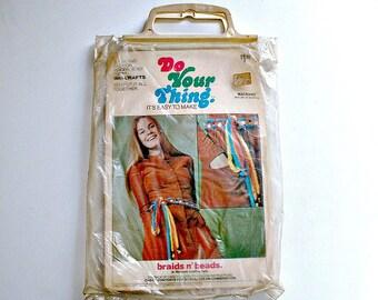 Vintage Macrame Belt Kit by Walcrafts Beads and Braids Hippy Hippie Craft Fashion Kit  #3152 Groovy