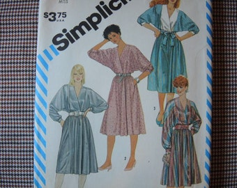vintage 1980s Simplicity sewing pattern 6295 misses mock wrap dress with sleeve variations size 10/12/14