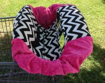 Shopping Cart Cover- B&W Chevron/ Hot Pink