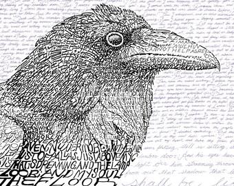 "The Raven Word Art - Baltimore Ravens - FREE Shipping - 16""x20"" - Edgar Allen Poe - Baltimore Art - Ravens Art - Baltimore Decor"