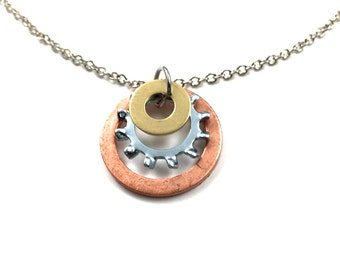 Pendant Necklace Stacked Hardware Jewelry