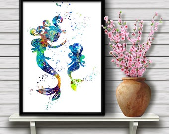 Mermaid Family, Watercolor Home Decoration, Fantasy Printable Wall Art, Mother and Daughter, Kids Room Decor, gift, Instant Download (03)