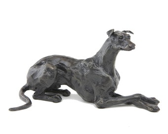 Foundry Bronze Lying Greyhound Sculpture by Sue Maclaurin (Solid Bronze).  Limited Edition 250. Beautifully gift boxed.