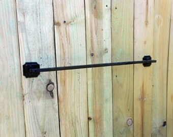 """Hand forged contemporary style Towel bar 24"""" long Hand crafted by a blacksmith in the USA"""