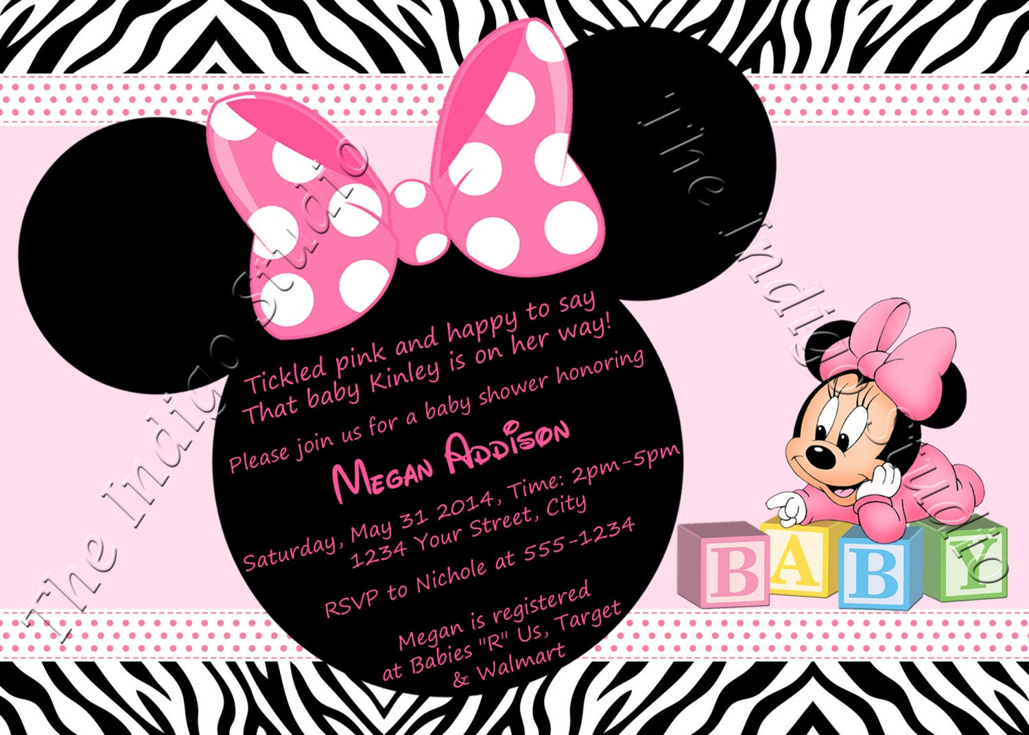 Minnie Mouse Zebra Print Baby Shower Invite Card