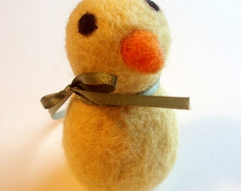 Felted Chick - Peeps the Chick - Easter Basket Plush - Waldorf Animal - Needle Felted Yellow Bird - Spring Decor - Easter Basket Gift or Toy