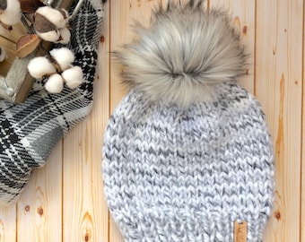 Womens Knit Beanie with Wolf Faux Fur Pom - Winter Hat - Toque