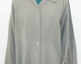 Olive Green 100% Silk Blouse by Tommy Bahama. Fall blouse, fall top, green top, silk top, soft top. versatile top, classic blouse