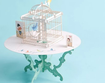 Bird Cage, Happy Birthday, Congratulations, DIY, Gifts,3D Pop Up Paper Cutting Greeting Cards.