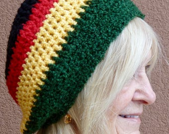 Bohemian hat with Rasta colors, crochet winter hat for Reggae lovers, bold green, red, yellow and black make a statement, original hat